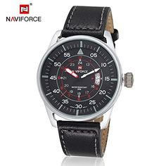 New Mens Luxury Brand Military Wristwatch Leather Strap Date Dress Business Casual Quartz Wrist Watches Relogio Masculino Male  Black Silver -- Check out the image by visiting the link. (Note:Amazon affiliate link) #WomenLuxuryWatches