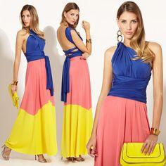The color-block VON VONNI Rio Colorblock Transformer Dress can be worn three different ways!