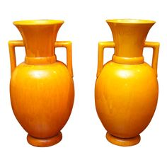 Pair of Japanese Awagi ware large yellow vases | From a unique collection of antique and modern ceramics at http://www.1stdibs.com