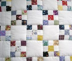 Scrappy Irish Chain Quilt and instructions.  Another perfect way to use scraps.