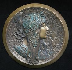 Alphonse Mucha bas relief