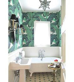 Easily incorporate the iconic banana leaf print of The Beverly Hills Hotel fame into your home decor./