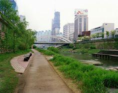 View Towards Biudanggyo Bridge, Cheonggyecheon, Seoul, 03/05/2008, 5.57 (lush green)