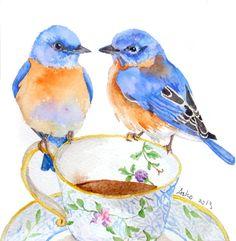 ooak Original Blue Bird on Teacup Watercolor by asho, Etsy