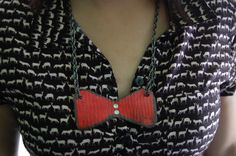 Big  Bow, Red Lizard Necklace