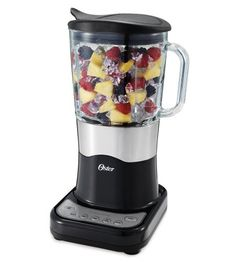 Oster BLSTDG-B Designer Series 7-Cup Glass Jar 6-Speed Blender, Black with Stainless Steel Accents Powerful 450-watt motor of ice crushing power with 6 speeds including pulse. 7-Cup dishwasher-safe and scratch-resistant glass jar is thermal shock tested to withstand extreme temperature changes. Oster All Metal Drive for lasting durability. The Easy-Pour lid with lift-up spout means you can pour without removing the lid, minimizing mess. Stainless steel Ice Crusher blade for perfectly crushed…