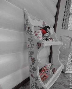 """Купить полка """"Розы Прованса"""" - белый, полка, полка для кухни, полка в стиле прованс, Мебель"""