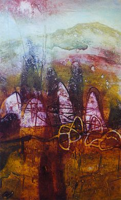 Autumn Ring Stones, collagraph by Janine Denby Collagraph Printmaking, Colourful Art, Mixed Media Collage, Abstract Landscape, All The Colors, Art Gallery, Stones, Autumn, Colours