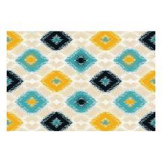 Χαλί CORAL σε χρώμα λευκό, τιρκουάζ, μπλε, κίτρινο Μ200xΠ140 cm