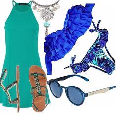 Un outfit che si ispira ai colori del mare! Abitino di linea dritta verde, delizioso bikini bluette con fantasia verde acqua, sandali verdi con pietre, collana dal sapore estivo, splendidi occhiali Mr.Boho scelti nella tonalità del blu !