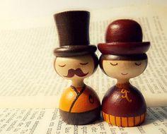 Mr. Mustache necklace - fashion jewelry - Art dolls. $20.00, via Etsy. ZIME