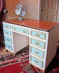 Fantastic Shabby Chic painted DISTRESSED ladies French antique blue writing desk. $895.00, via Etsy.