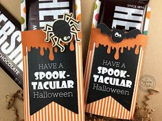It's Written on the Wall: 35 Fun Halloween Games, Treats and Ideas for your Halloween Party Comida De Halloween Ideas, Fun Halloween Games, Halloween Party Snacks, Halloween Design, Fall Carnival, Halloween Carnival, Hershey Chocolate Bar, Candy Bar Wrappers, For Your Party