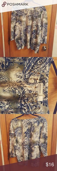 "Alfred Dunner Shirt.  Size L Beautiful paisley patterned shirt 3/4 length sleeves Vertical gathered seams below a round neck with gold embellished decor 22"" from neck to bottom in front  24"" from. Neck to bottom in back 11"" inside sleeve length  95% cotton. 5% spandex Machine wash cold inside out Never worn! Alfred Dunner Tops Tees - Long Sleeve"