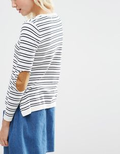 Image 3 ofASOS PETITE Jumper in Stripe with Oval Tan Suedette Elbow Patch