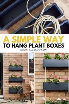 A step by step tutorial on how to make a DIY outdoor hanging planter from standard plant boxes. This is the perfect Hack to do in lockdown/quarantine Hanging Planters Outdoor, Hanging Planter Boxes, Fence Planters, Diy Planter Box, Vertical Planter, Hanging Plants On Fence, Hanging Gardens, Vertical Gardens, Planter Ideas