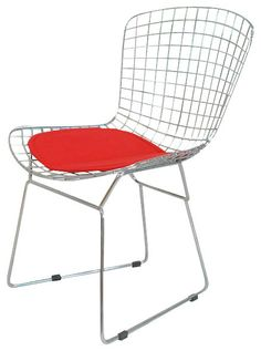 Bertoia Style Chair, Red Pad midcentury-dining-chairs
