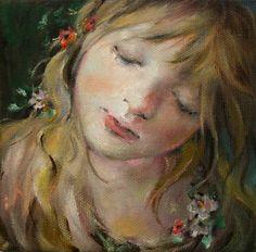"Original Moonglance Oil on Canvas 5""x5""x1 5 "" OOAK Small Portrait | eBay"