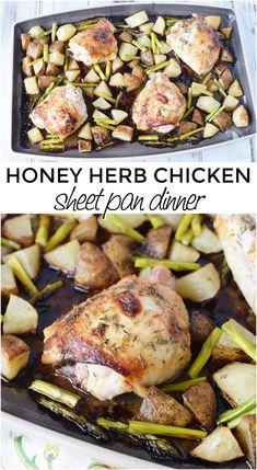 Honey Herb Baked Chicken Thighs Sheet Pan Dinner #chicken #sheetpandinner Yummy Chicken Recipes, Healthy Dinner Recipes, Healthy Snacks, Tasty Meals, Turkey Recipes, Healthy Eats, Delicious Recipes, Recipe Sheets, Baked Chicken