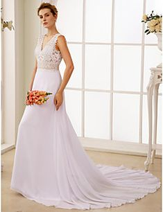 d7f91a6ed20c   229.99  A-Line V Neck Court Train Chiffon   Sheer Lace Made-To-Measure  Wedding Dresses with Lace by LAN TING BRIDE®   Open Back   See-Through