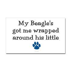 Wrapped Around His Paw (Beagle) Sticker (Rectangul