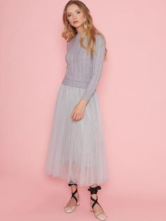 Dahlia Mary Grey 2 in 1 Dress With Jumper Top & Long Mesh Skirt