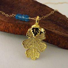 Gold Oak Necklace with Blue Topaz Nine Options of by lizix26, $29.00