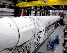 The Falcon 9 rocket and Dragon spacecraft in SpaceX's hangar! Just T-4 days until launch, targeted for this Friday March 1 at 10:10AM ET, Cape Canaveral, Florida.