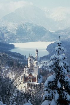 Neuschwanstein Castle. 19th-century Romanesque Revival palace above the village of Hohenschwangau in southwest Bavaria, Germany.