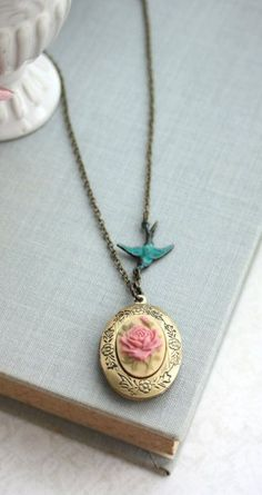 Shabby Dusty Rose Floral Locket