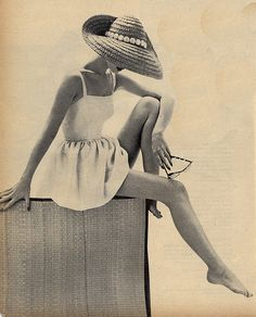 Beachwear 1955 I miss the old days (not that I ever experienced them) when women were feminine and poised - not masculine and slutty like they are nowadays.