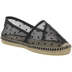 Gaimo for OFFICE Alp Espadrille (£15) ❤ liked on Polyvore featuring shoes, sandals, black polka mesh, flats, women, black sandals, espadrille flats, black shoes, flat pumps and slip on sandals