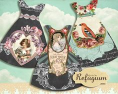 little dresses INSTANT DOWNLOAD digital Collage von digitalRefugium, €3.20 Dresser, Inspired By Charm, Download Digital, Scrapbook, Little Dresses, Digital Collage, Collage Sheet, Paper Dolls, Gift Tags