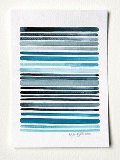Ocean 1 - Original Minimalist Abstract Watercolor Painting - Grey, Turquoise, Blue Painting - by Natasha Newton