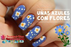 Uñas azules decoradas con flores - Tutorial paso a paso - http://xn--decorandouas-jhb.com/unas-azules-decoradas-con-flores-tutorial-paso-a-paso/