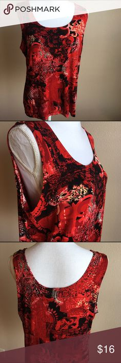 Chico's 3 14/16 travelers tank Beautiful red tank by Chico's.   This is their size 3 14/16 measures about 20 across at bust and about 24 inches long. Non smoking home Chico's Tops Blouses
