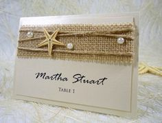 Beach Wedding Place Cards Name Place Cards by PaperStudioByC