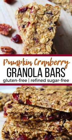 Healthy and easy recipes for snacks are my favorite! Check out these Pumpkin Cranberry Granola Bars for a great Fall, on-the-go snack. These granola bars are gluten-free and refined sugar-free, thanks to a little honey. Chewy and filled with dried fruit, Healthy Granola Bars, Healthy Vegan Snacks, Cranberry Recipes Healthy, Healthy Pumpkin Bars, Healthy Recipes, Healthy Eating, Paleo Dessert, Pumpkin Puree Recipes, Pumpkin Granola Bar Recipe