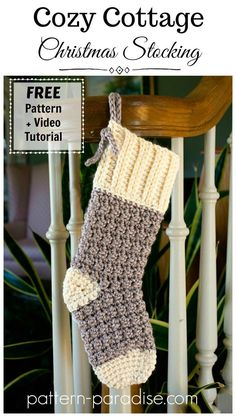 Free Crochet Pattern: Cozy Cottage Christmas Stocking | Pattern Paradise