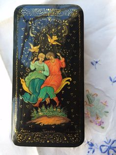 "Original Russian Palekh hand painted lacquer box ""Swing couple signed by artist Vintage item papier mache, egg tempera, lacquer box"