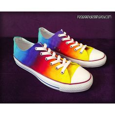 Rainbow Custom Converse Colorful Painted Shoes Low Tops ($75) ❤ liked on Polyvore featuring shoes, sneakers, converse, low profile sneakers, converse footwear, rainbow shoes, low top and multi color shoes