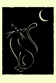 Cat & Moon. Elegant illustration of a cat, inspired by Lautrec and Art Deco illustrations.: