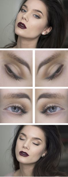 """Today's Look : """"Cloud Breaker"""" -Linda Hallberg ( I love today's very subtle touch on the eyes and the bold oxblood red on the lips... this particular eye look would look well with any choice of lip and blush colors so it is very practical) 03/15/14"""