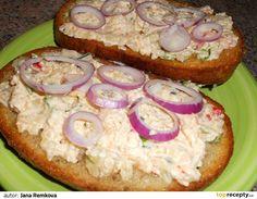 Nátierka z tvarúžkov (fotorecept) - recept Hawaiian Pizza, Salmon Burgers, Bagel, Ham, Muffin, Tacos, Bread, Breakfast, Ethnic Recipes