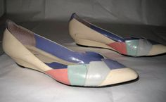 Size 10M Vintage Pastel Wedge Heel Ballet by ExpertImageVintage, $25.00