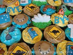 Cupcakes: Australian themed cupcakes for a leaving party. Including handmade fosters, flag, opera house, hat, road signs handmade decorations. www.facebook.com/thegrovecupcakery