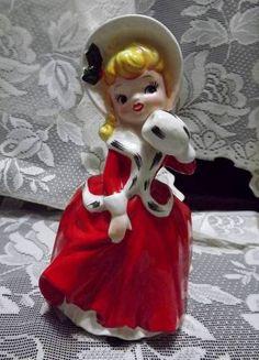 Beautiful Vintage R/B #1442 Japan Victorian Christmas Lady w/ Muff Planter Vase   eBay