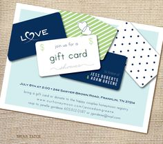Bridal or Couples Shower Invitation Giftcard Honeymoon Fund Housewarming 5x7 (printable file). $15.00, via Etsy.