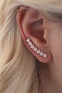 Pearl Cube Gold Ear Jackets - ear jackets / gold ear jacket / ear jacket earrings / modern earrings / statement earrings / gifts for her - Fine Jewelry Ideas - Star ear crawlers ear climber earrings by GoldLayeredNecklaces - Sapphire Earrings, Crystal Earrings, Women's Earrings, Jacket Earrings, Statement Earrings, Ear Piercing For Women, Ear Piercings, Prom Jewelry, Ear Jewelry