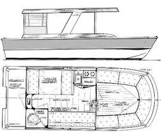 Houseboat Plans   Wooden House Boat Floor Plan